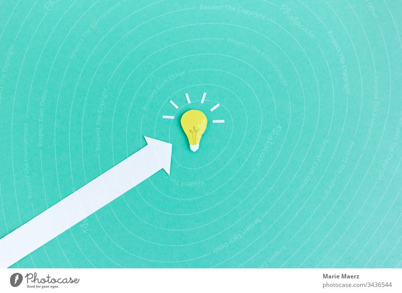 Quick to the idea | arrow to the bulb Success Idea Inspiration Neutral Background Know Electric bulb Think Curiosity Advancement Creativity Planning Education