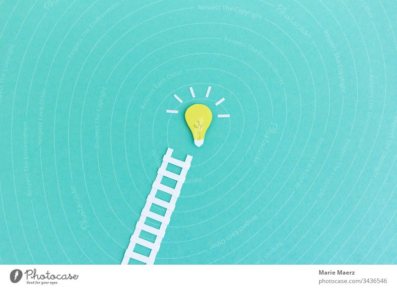 Road to success | ladder leads to light bulb Ideas symbol Success Innovative Inspiration Neutral Background Know Electric bulb Think Curiosity Advancement