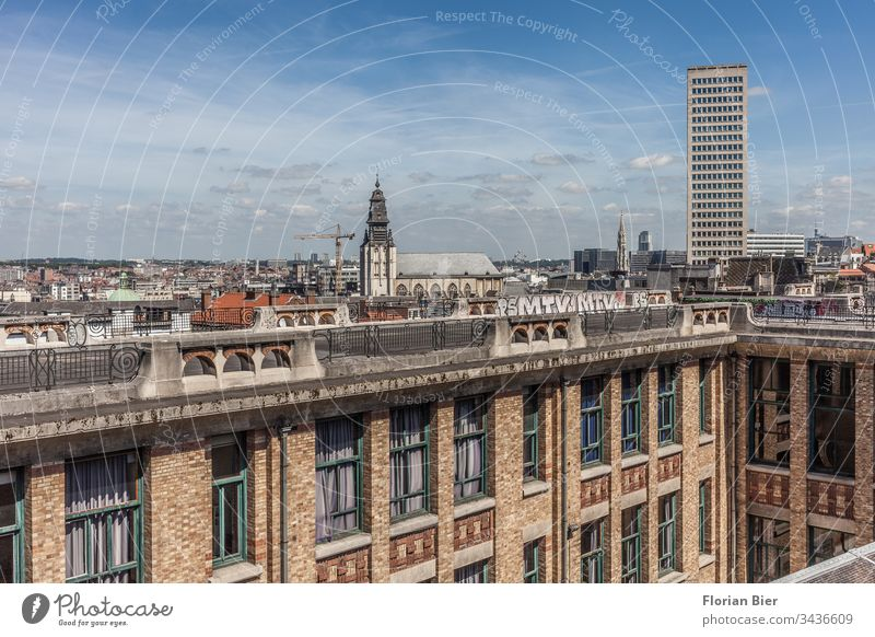 View over Brussels at the Lift van de Marollen near the Palace of Justice elevator Belgium Capital city Building Interior courtyard Window downtown Central