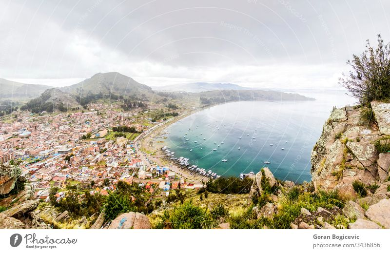 View at town Copacabana on Titicaca lake in Bolivia titicaca bolivia copacabana landscape view water beach travel nature latin america harbor destination south