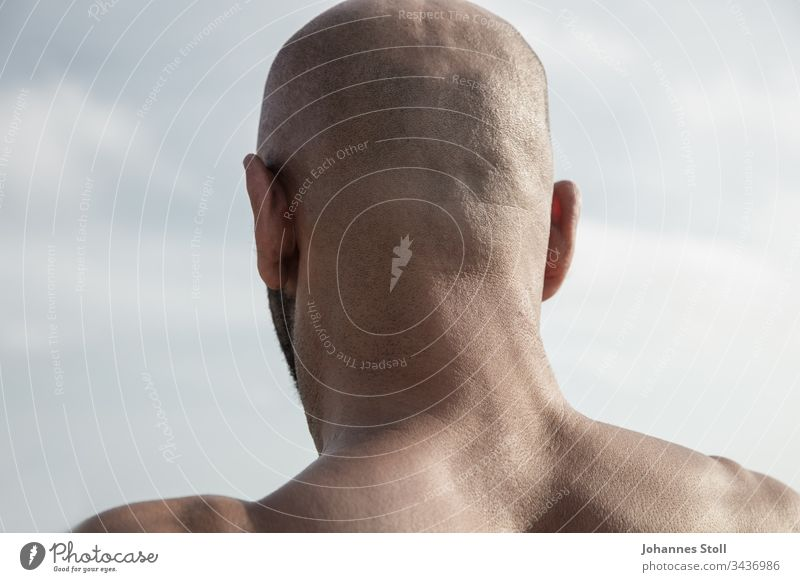 Male back of the head in front of a blue sky in rear view Bald or shaved head Man masculine Skin hair Facial hair ears Back Shoulder Back of the head Head