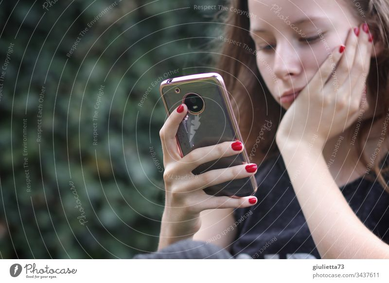 corona thougths | teenage girl with mobile phone has boredom Young woman Youth (Young adults) Virus pandemic gap Safety Contagious infected segregated