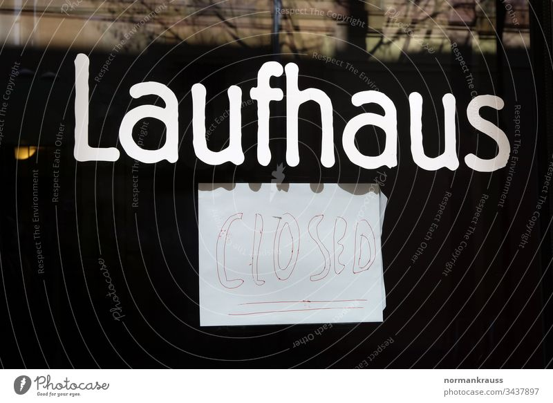 Laufhaus closed Brothel prostitution sign Clue Closed writing Word handwritten Piece of paper Exterior shot Letters (alphabet)