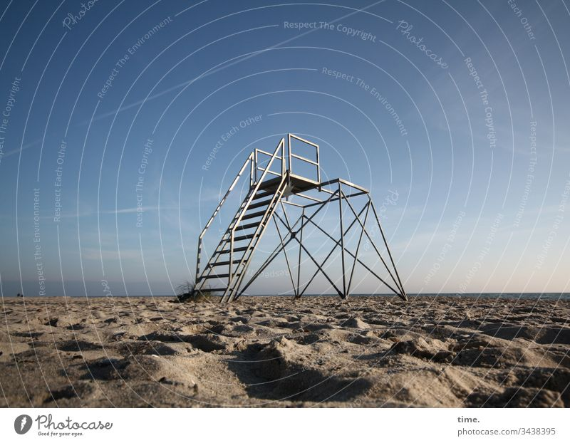 end of season Sunlight Coast Horizon Sky Moody sensation travel free time Relaxation melancholy wide Far-off places outlook Sand Stairs Metal Scaffolding
