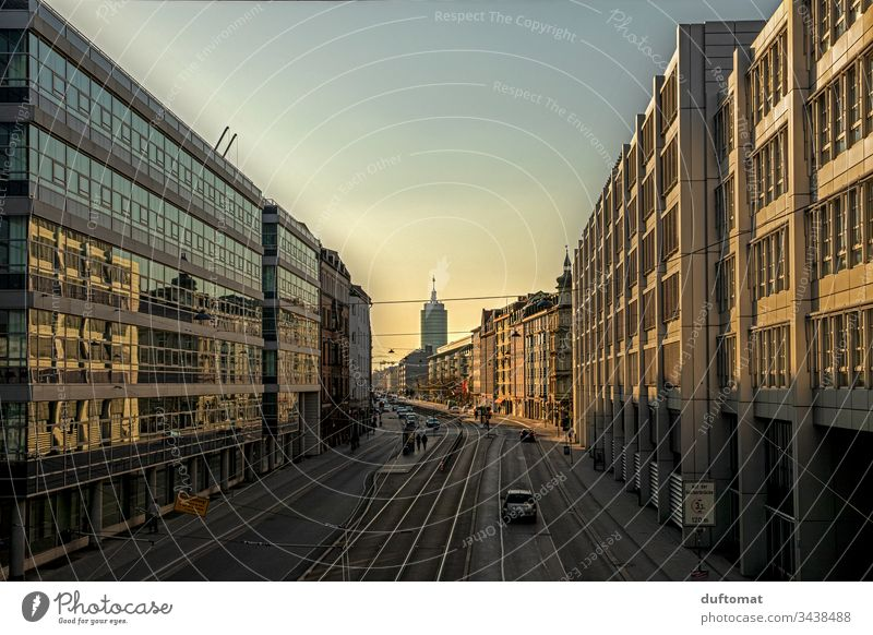 Munich, urban romance, sunset, film set Sunset Town Architecture geometric Exterior shot Facade Window Abstract Modern Block Building City Design