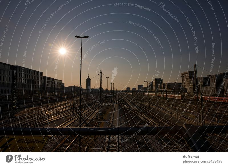 Munich, Hackerbrücke, train railway tracks at sunset Town Architecture urban geometric Exterior shot Abstract Modern City Railroad tracks Pattern