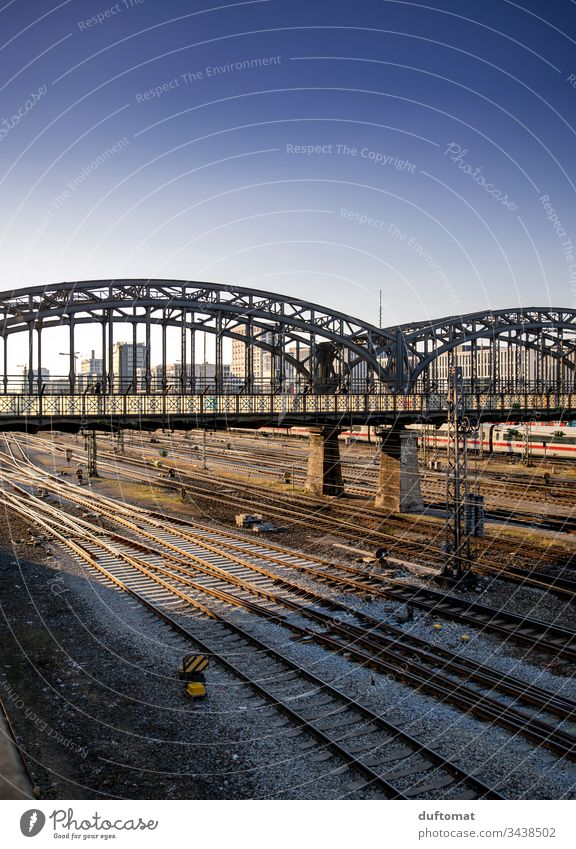 Munich, Hackerbrücke, tracks, sunset Town Architecture urban geometric Exterior shot Abstract Modern City Railroad tracks Pattern Structures and shapes Surface