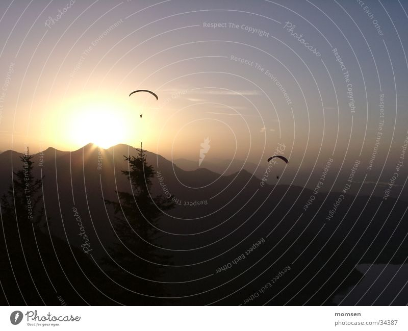 sun diving again Sunset Parachute Paragliding Peak Mountain