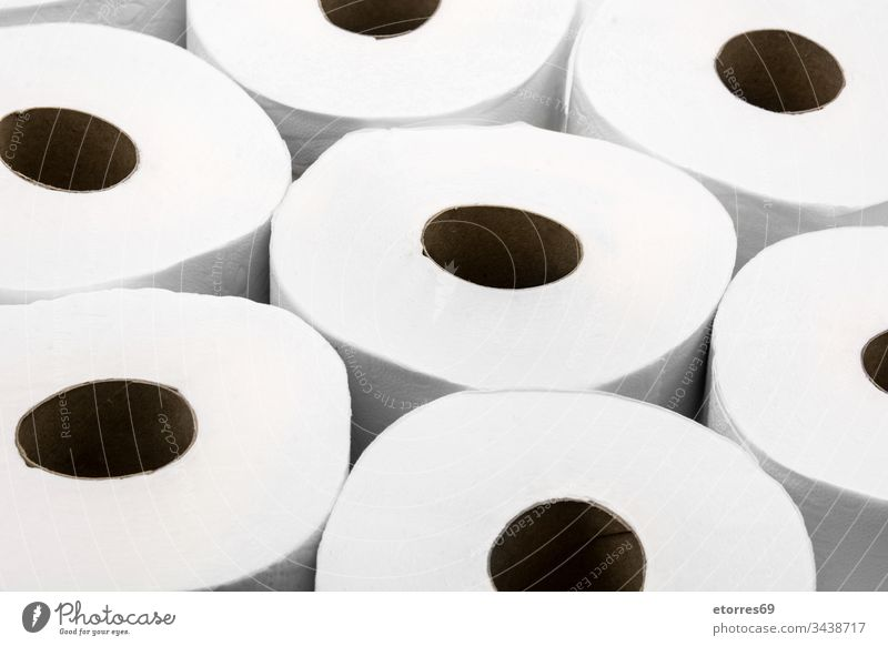 Toilet paper rolls background COVID-19 bathroom cleaner closeup concept constipation coronavirus diarrhea disease domestic empty finished full hygiene isolated