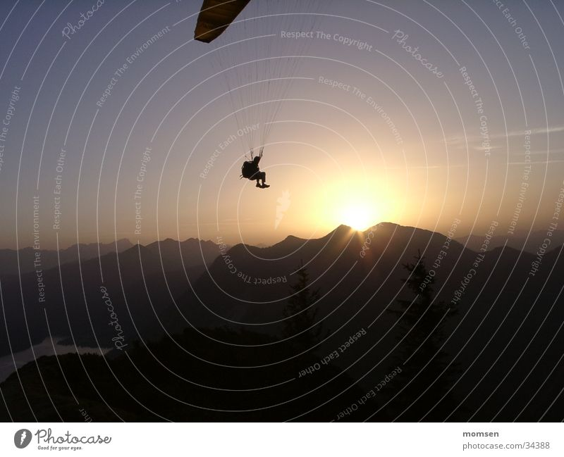 sun diving Sunset Parachute Paragliding Peak Mountain