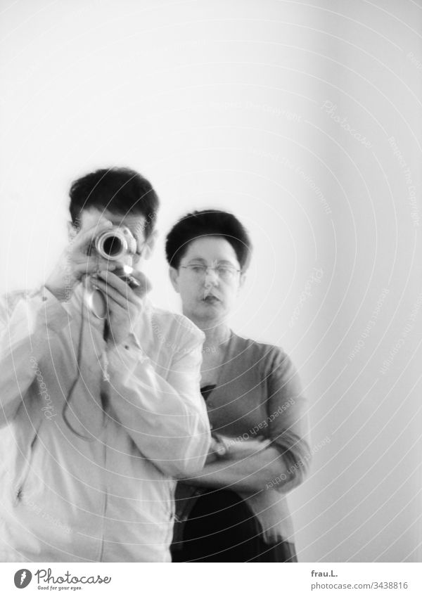 Sceptically, frau.L. observed his first photographic attempts, and even with her camera. Man Woman Couple Mirror Exhibition Art Married couple Together