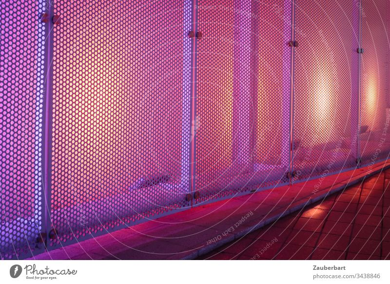 Grille with yellow, violet backlighting as wall covering Grating Wall (building) cladding Abstract Architecture Pattern Metal Interior shot Yellow Violet Light