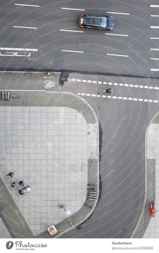 Street junction, from above, with lines, slabs, pavement as well as car, bicycles and pedestrians Places confluence off Line Lane markings Asphalt Above Bicycle