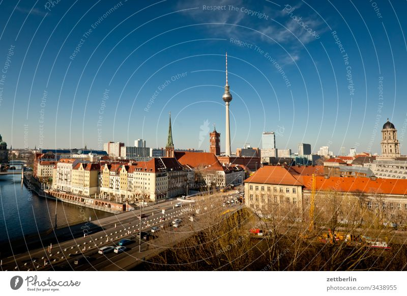 Centre East Berlin on the outside Germany Far-off places spring Spring Capital city House (Residential Structure) Horizon downtown Light Nikolai Quarter