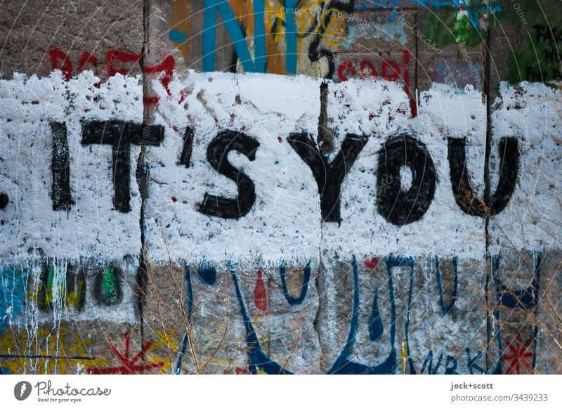 It's you written on the Berlin Wall Street art Subculture Wall (barrier) Characters Graffiti Creativity Word Fashioned Inspiration Wall (building) Detail