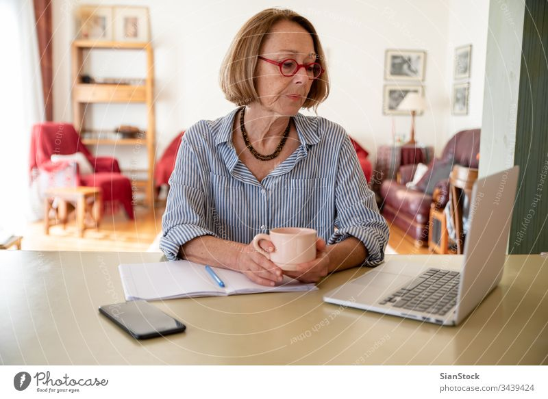 Middle age senior woman working at home using computer female laptop mature people one house person lifestyle desk cheerful drink glasses attractive relax
