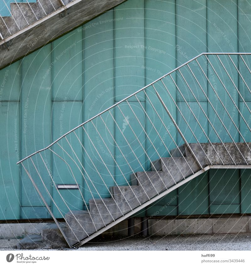 Dent in the railing Architecture Fence Stairs Gap in the fence Exterior shot dent deformed Deformation Handrail Metal