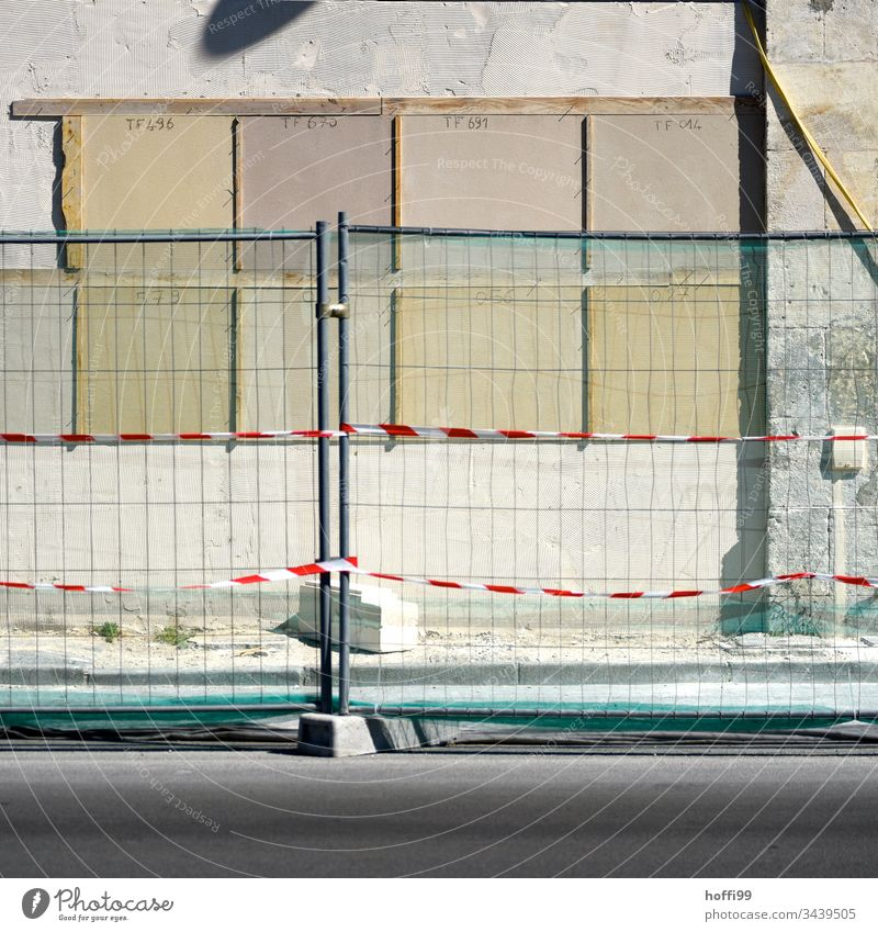construction fence Fence Construction site Border Metal Abstract Barrier Street Structures and shapes flutterband Concrete Insulation Wall (building)