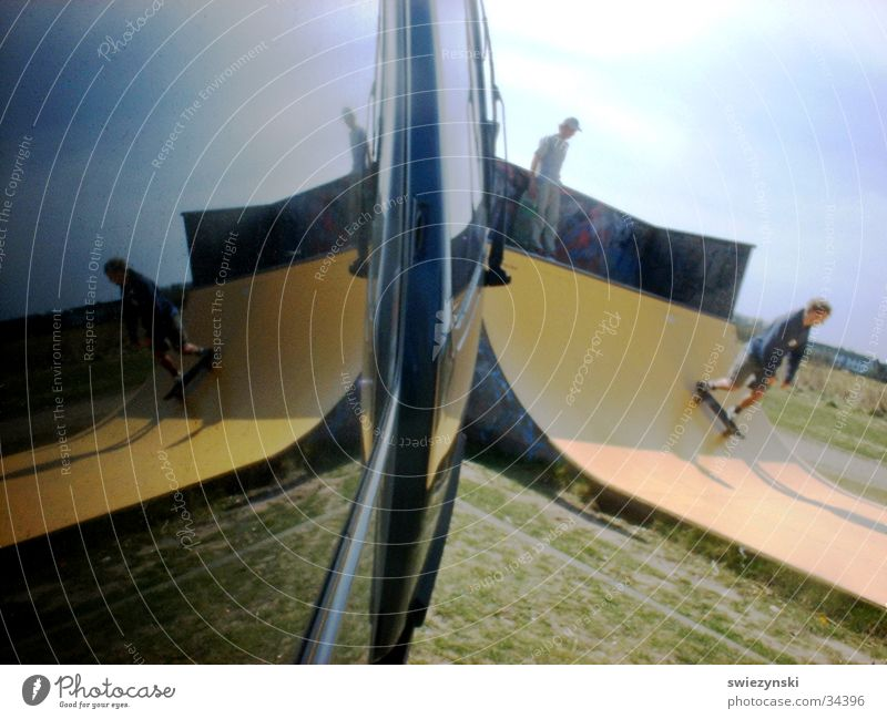 mirror pipe on sylt Halfpipe Skateboarding Reflection Sports Joy