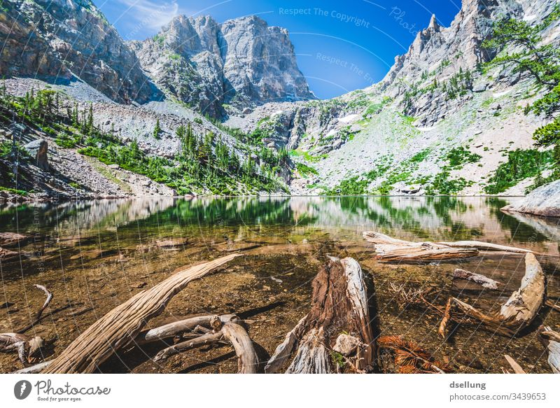 Lake with fallen trees in water in a rocky landscape Wellness Rock Expedition Time to yourself Break Camping Earth Americas National Park Climate change