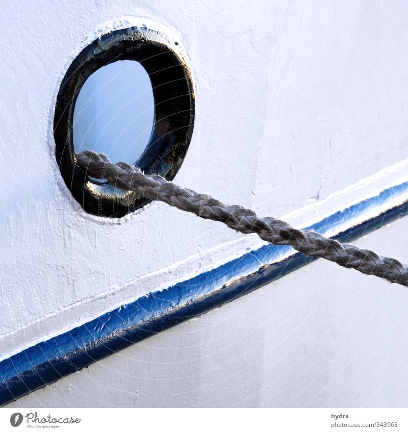 Blue Old White Black Eyes Watercraft Line Power Rope Round Logistics Harbour Strong Firm Navigation Steel