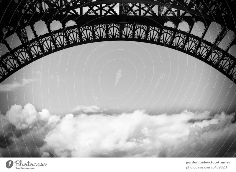 View from the Eifel Tower panoramic view daylight little colour Deserted Clouds Arch of the Eifel Tower upper edge Clouds lower half Blue white black