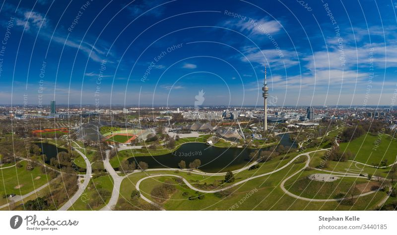 Attractive view from a flight over Munich in spring. German Park Healthy Spring Fresh Air heyday Colour panorama Beautiful Skyline Drone travel popular