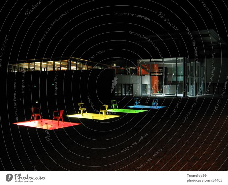 FH Pforzheim at night 2. Night Building Library Red Yellow Green Architecture Chair Blue fh