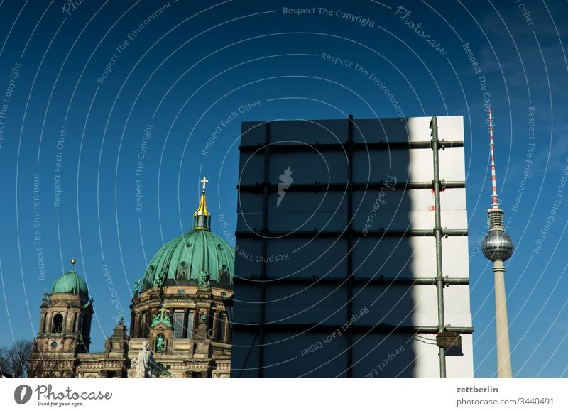 Berlin Cathedral and Television Tower on the outside Germany spring Spring Capital city House (Residential Structure) Light Shadow Sun urban Dome Church