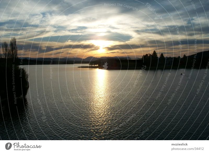 Canberra Sunset Australia Lake Twilight Reflection Clouds Panorama (View) Horizon Water Evening sun Large