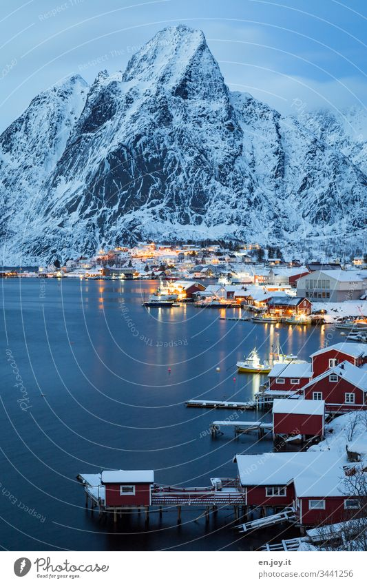 Snowy small town at the fjord in front of Bergen at the blue hour Blue vacation famous Tourist Attraction Small Town Water Night Evening Idyll Light