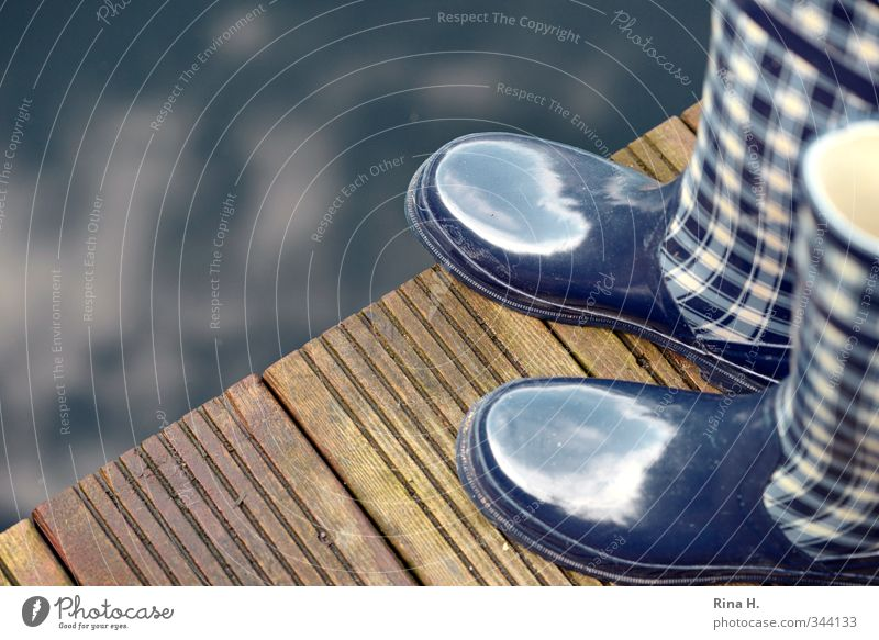 Blue Spring Garden Leisure and hobbies Glittering Climate Stand Terrace Pond Checkered Wooden floor Country life Bad weather Rubber boots Workwear