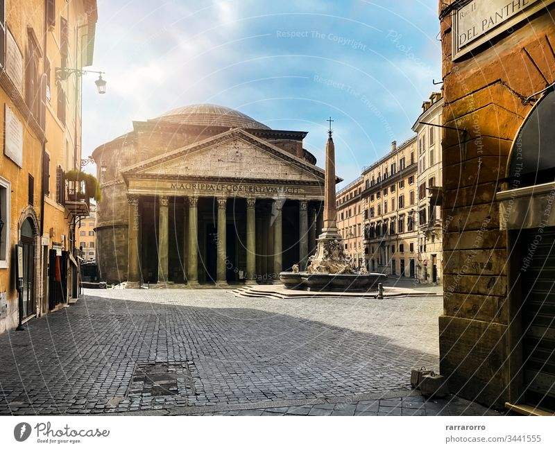 The Pantheon and the fountain in Piazza della Rotonda in Rome seen from Via del Pantheon. pantheon rome italy tourism city ancient temple church famous place