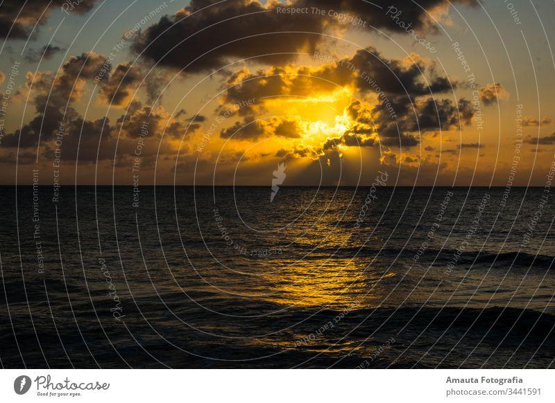 Sunset at San Andres Island sunset stylish idyllic seascape landscape clouds orange color contrast waves caribbean water ocean horizon sunlight palm dark