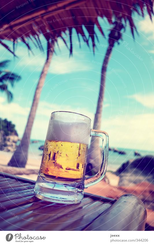 Sky Blue Summer White Relaxation Ocean Clouds Far-off places Beach Cold Yellow Warmth Brown Leisure and hobbies Glass Beer