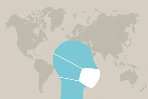 Head with face mask in front of world map Sneezing Contagious risk of contagion Virus Illness hygiene Infection Health care medicine coronavirus Hospital