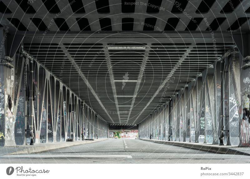 Steel construction bridge in the port of Hamburg. Bridge Town Transport traffic Manmade structures Street River river Construction statics Strength