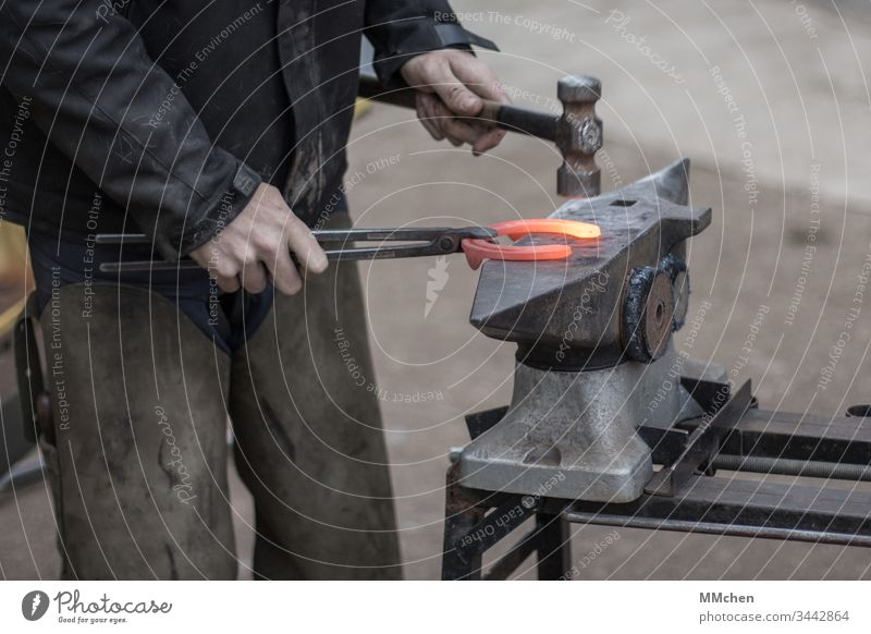 Blacksmith at work on the anvil Horseshoe Forge Embers Hot Craft (trade) Smith Hammer shape Anvil Metal Incandescent Iron Smithy Tradition Tool Steel Handcrafts