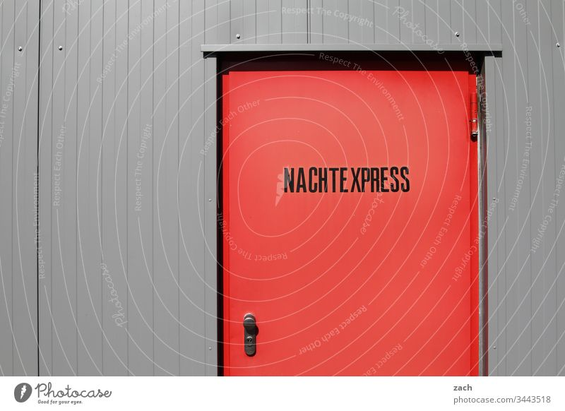 red door with the inscription Nachtexpress Night work Night life Express Wall (barrier) Sign Overnight Express Characters Building Germany Berlin Capital city