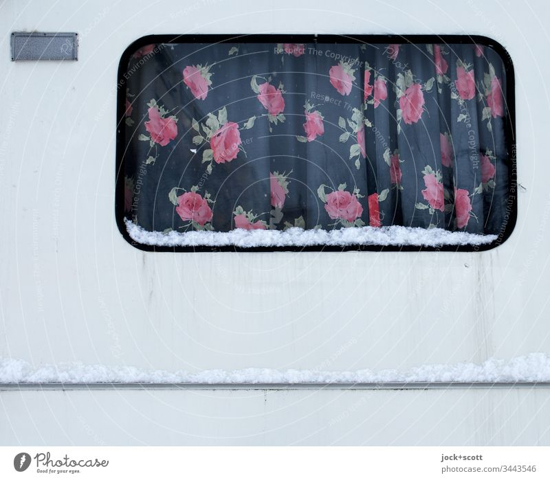 Floral curtain for caravan, comfortable for on the road and at home Drape Vacation & Travel Caravan Window Camping Trashy Lifestyle Mobility Retro Winter Snow