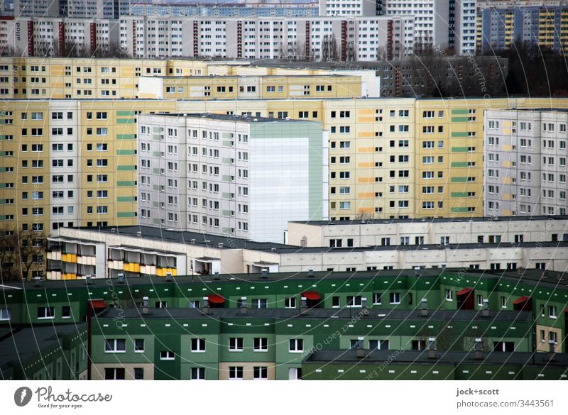 a nice living in the box Panorama (View) Abstract Subdued colour Complex Many Gloomy Hideous Large Sharp-edged Prefab construction Facade Modern Authentic Style