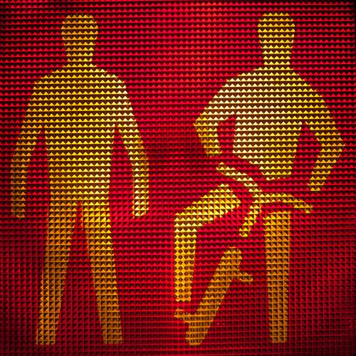 Pedestrians and cyclists wait with red light Silhouette Pictogram Comic Warn Diffused light Safety Illuminate Traffic light Plastic Design Detail Signal Rule