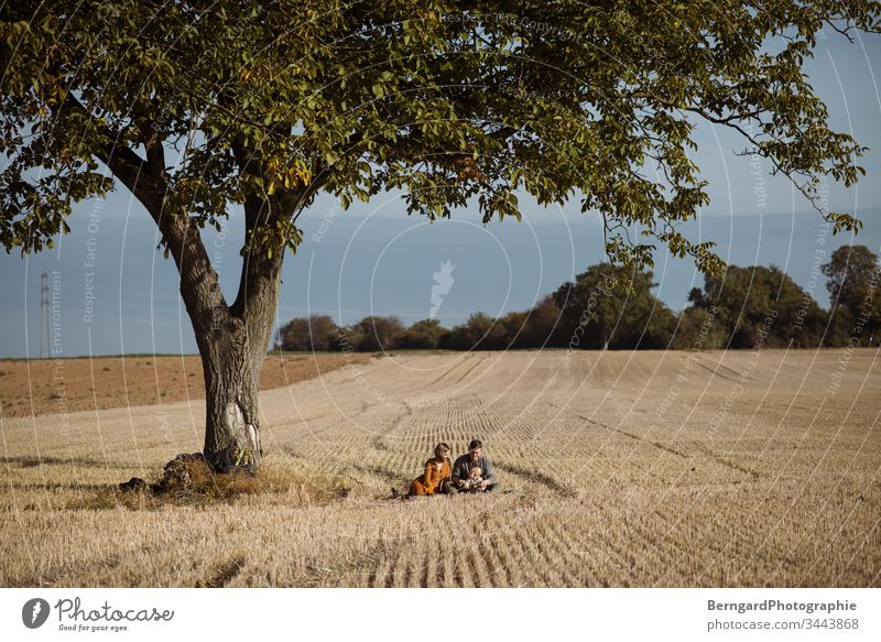 Family Tree tree Family & Relations Domestic happiness Field Autumn sky Straw off happy Woman Child