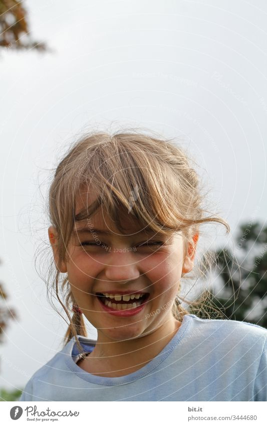 Close your eyes, show your teeth and laugh heartily, the girl liked laughing Portrait photograph Human being Face Looking Happiness cheerful Funny Happy