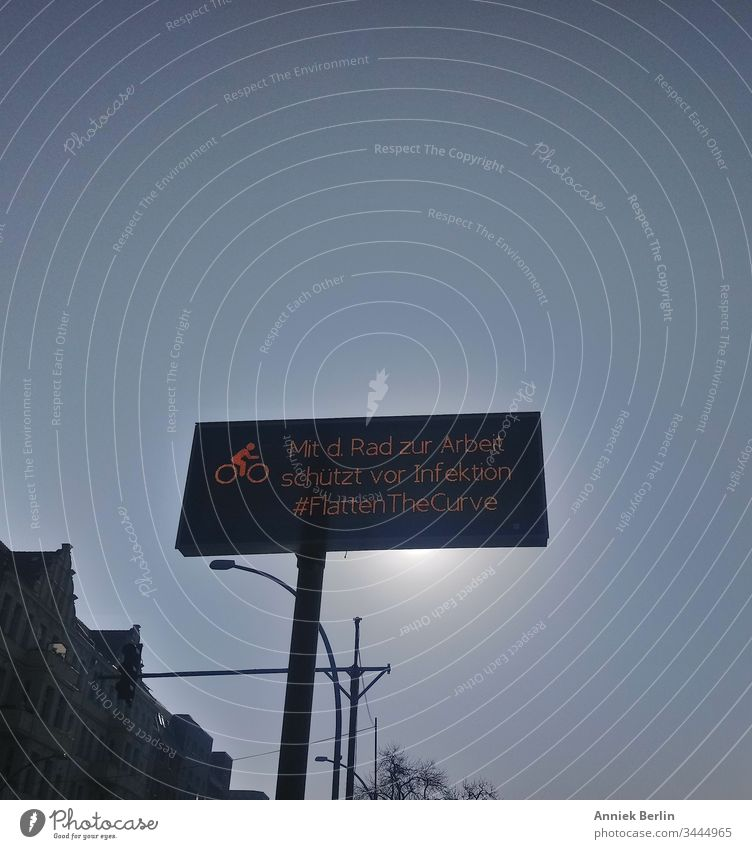 LED Display #FlatTheCurve Town Berlin Exterior shot Colour photo display corona coronavirus covid-19 pandemic prevention street sign Protection Infection