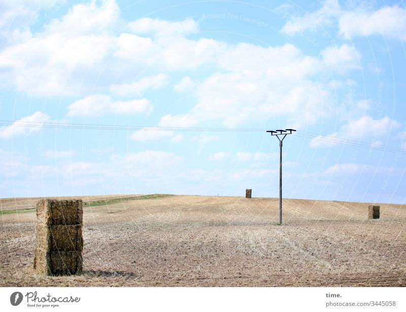 ready for dispatch Hay Hay bale acre Electricity pylon stream Transport Energy industry Agriculture Sky Clouds Beautiful weather wide Stand Sunlight Shadow