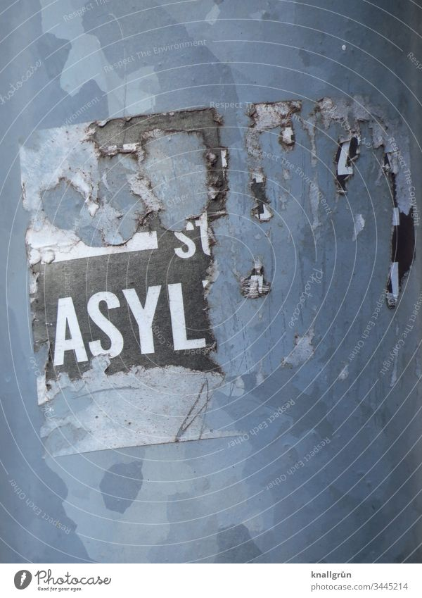 "Detail of a broken sticker ""ASYL Asylum Communicate stickers Word Letters (alphabet) Typography Characters Latin alphabet Capital letter Language Text"