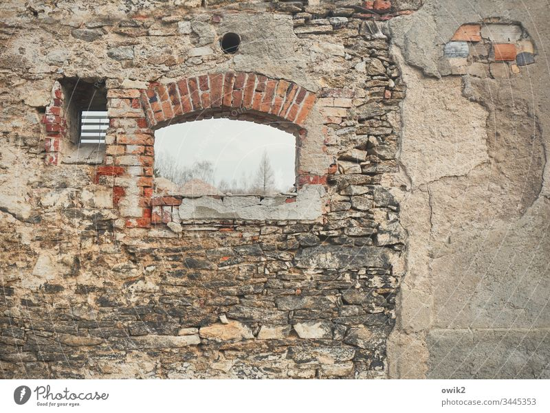 Demolition romance Wall (barrier) Wall (building) Facade Old Demolition house Hatch Colour photo Deserted House (Residential Structure) Day Window Building