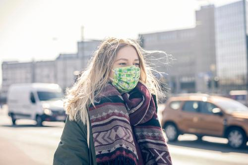 young woman with mouth guard in the city Woman Mask Respirator mask Face mask Town Young woman Virus coronavirus anxious viruses pandemic Infection Threat flu