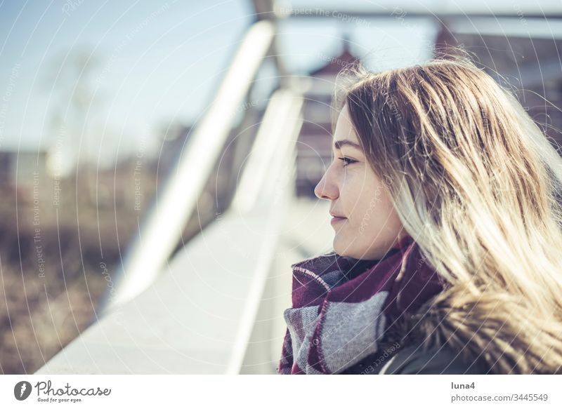 happy young woman in the city Woman Meditative Smiling Bridge Young woman Attractive Happy fortunate contented cheerful Handrail sensual Joy confident Positive
